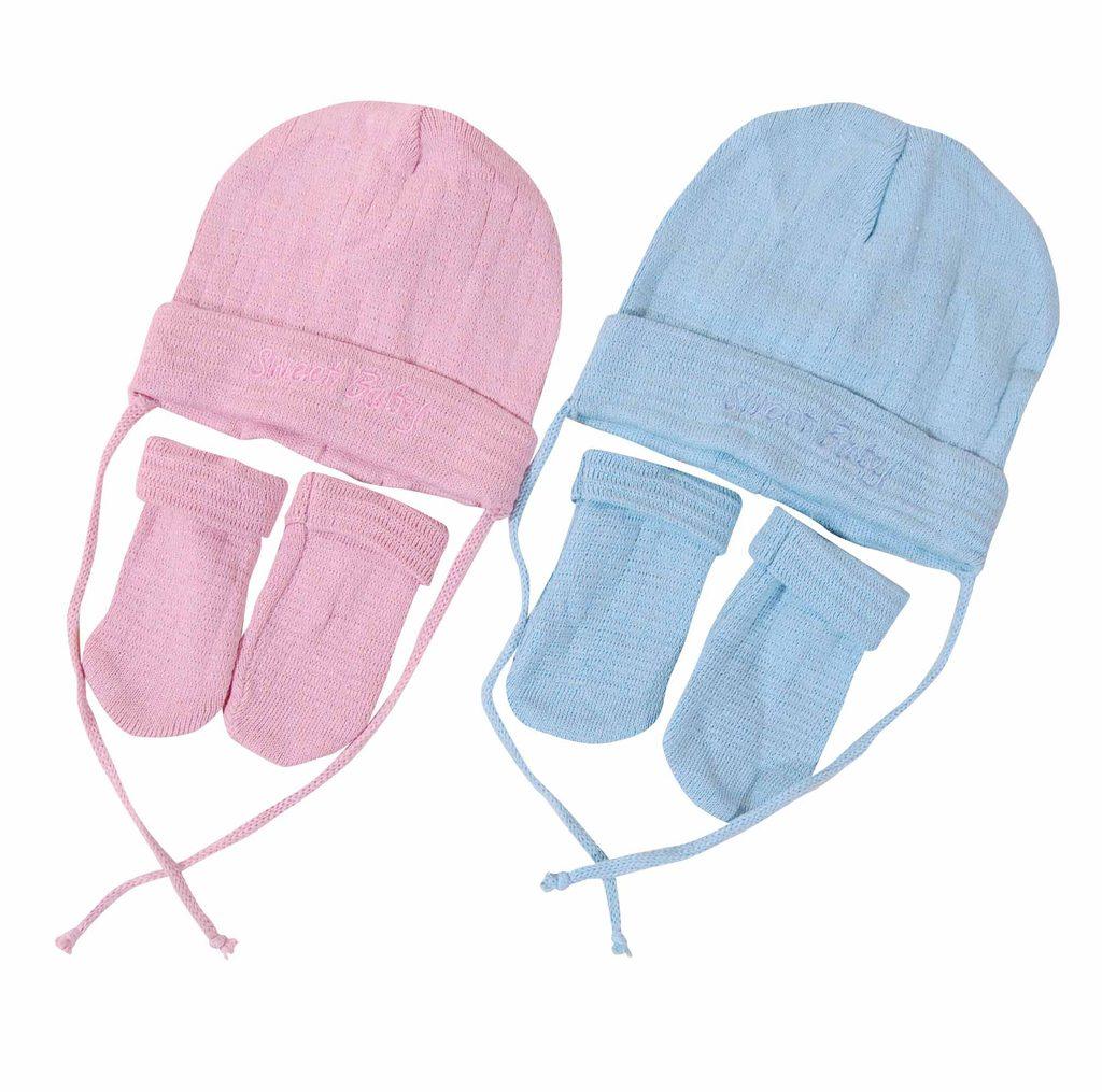 Čepice kojenecká a rukavice, Pidilidi, PD610, modrá - 86