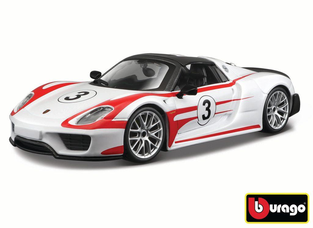 Bburago 1:24 Race Porsche 918 Weissach White, Bburago, W007356