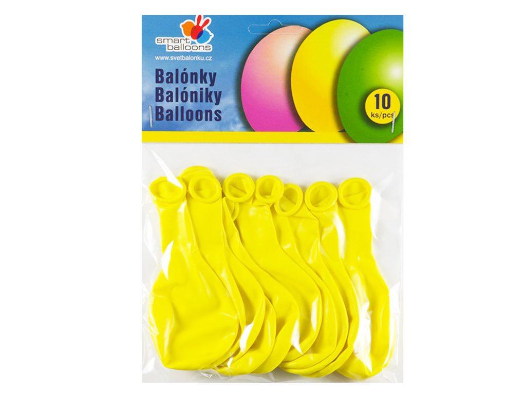 Balónek nafukovací - sada 10ks ŽLUTÉ 26cm, Smart Balloons, W040573