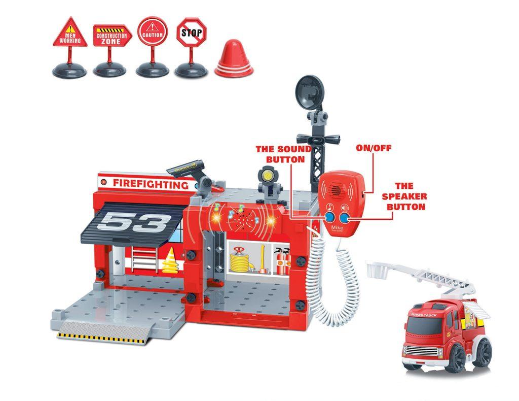 Šroubovací hasičská stanice s vysílačkou a autíčkem, Wiky, W111276