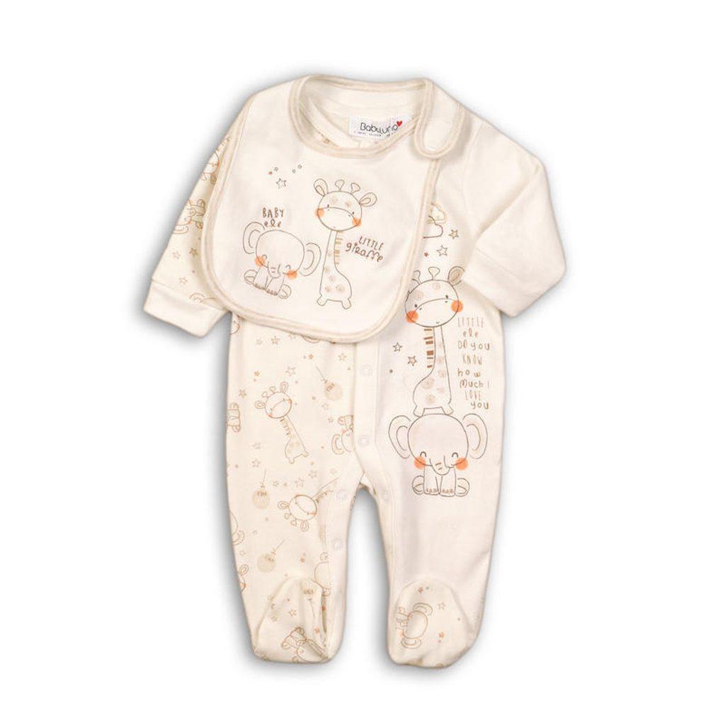 Overal kojenecký bavlněný a bryndák, Minoti, ELE 3, béžová - 68