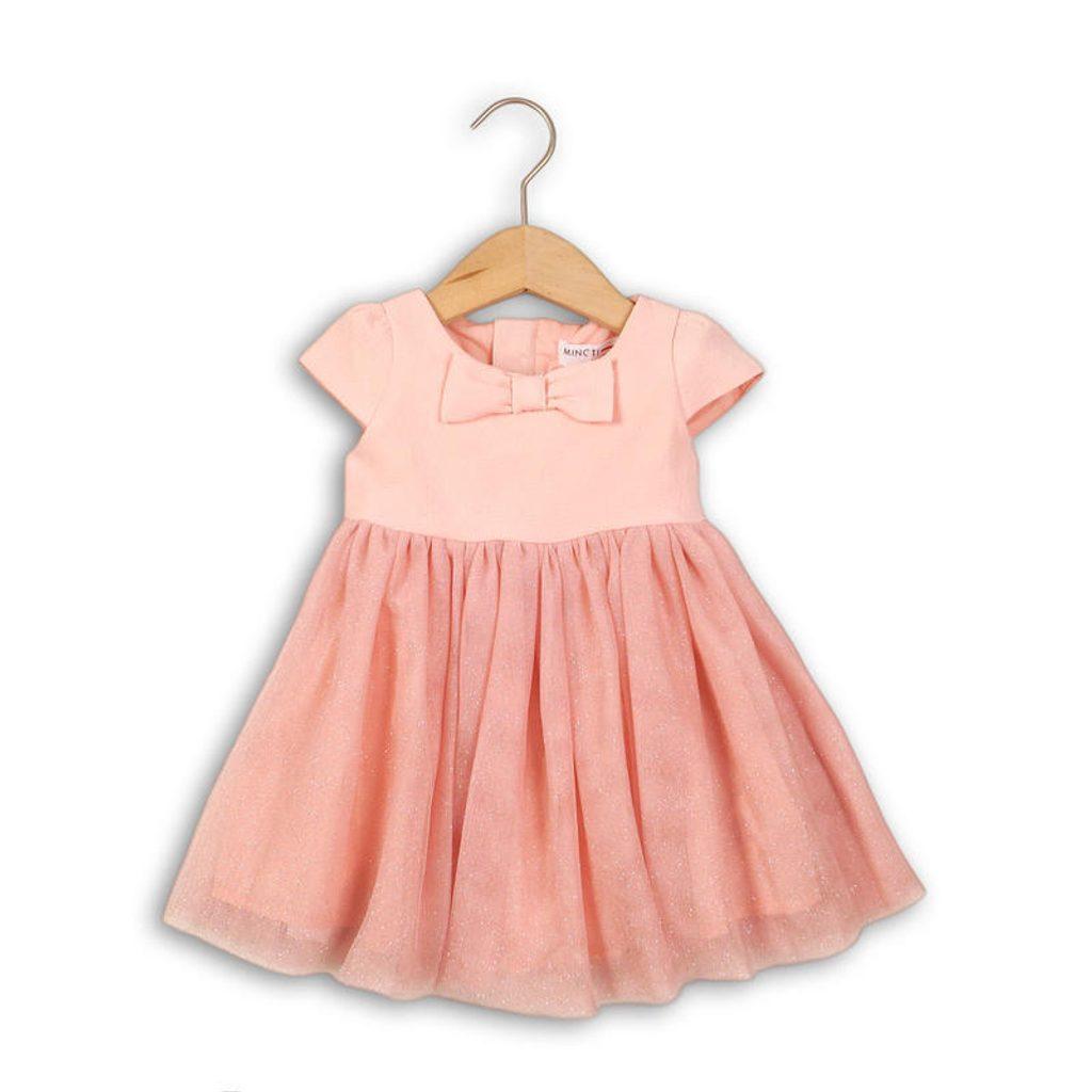 Šaty dívčí slavnostní s mašlí, Minoti, DOLL 5, růžová - 68/80