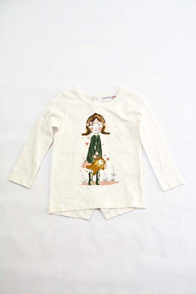 Tričko dívčí s dlouhým rukávem, Minoti, PRETTY 1, krémová - 98/104