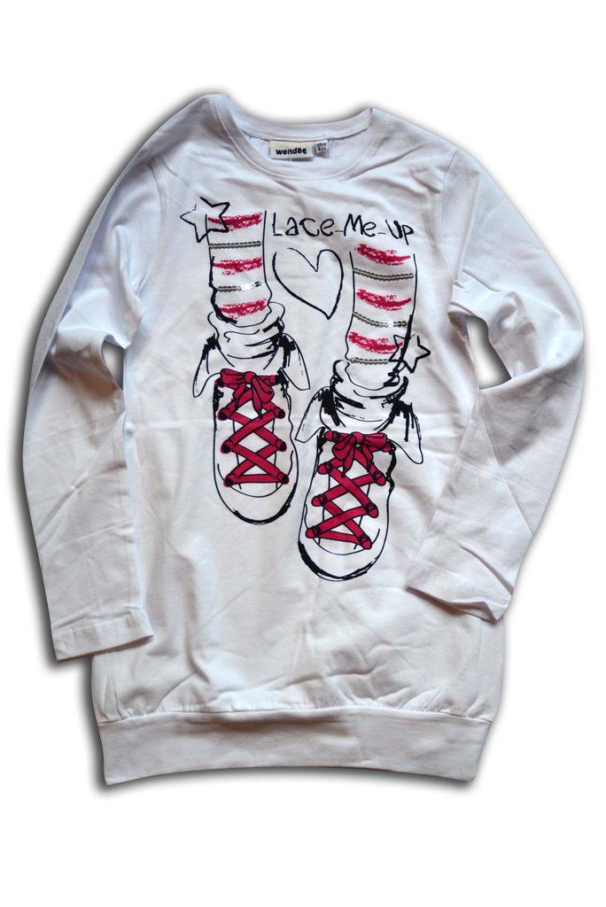tričko dívčí, dlouhý rukáv, Wendee, OZFB39209-2, bílá - 152