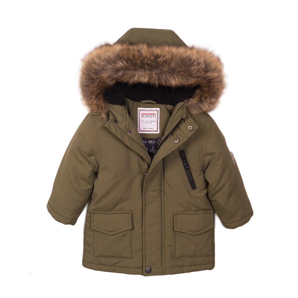 Kabát chlapecký Parka s chlupatou podšívkou, Minoti, Loud 1, khaki - 80/86