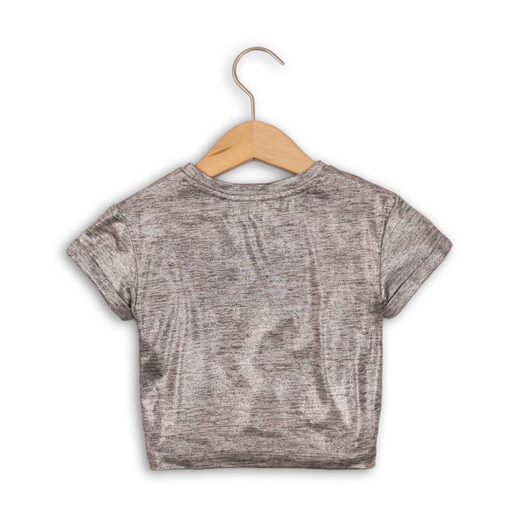 Tričko dívčí s krátkým rukávem, Minoti, SHIMMER 1, šedá - 110/116