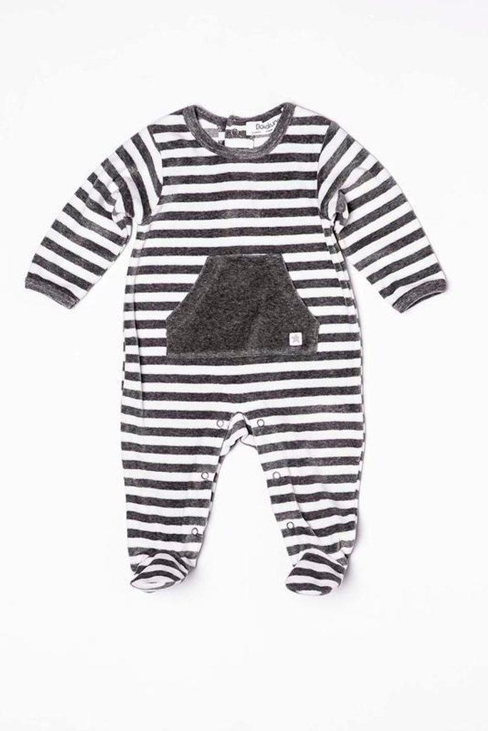 Overal kojenecký sametový, Minoti, ZEBRA 4, šedá - 50