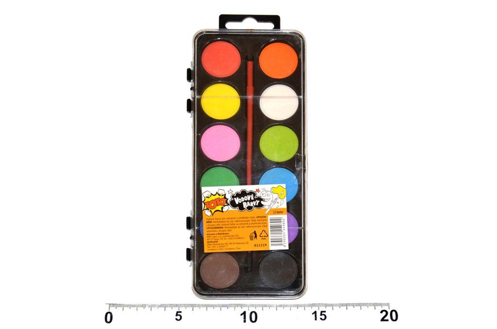 Vodové barvy 12 ks, štětec, TOTO, W811219