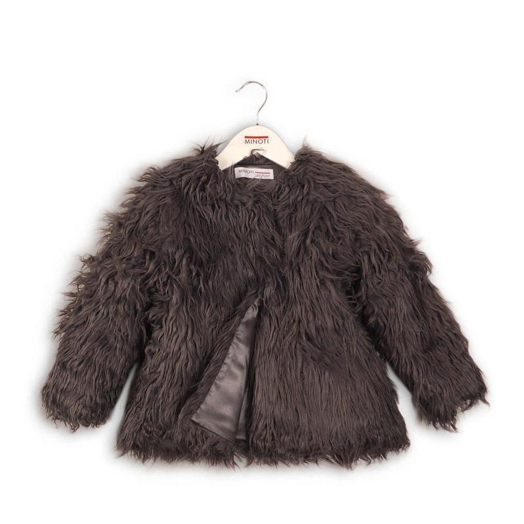 Kabát dívčí chlupatý, Minoti, TOASTED 6, antracit - 98/104