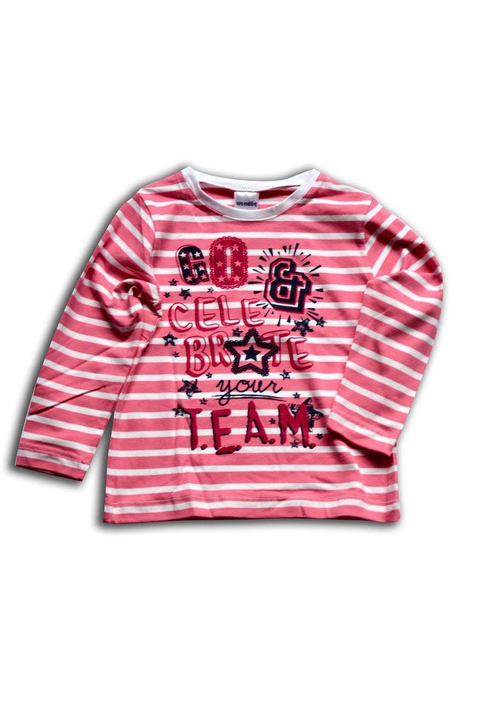 tričko dívčí, dlouhý rukáv, Wendee, ozfb102487-0, růžová - 98