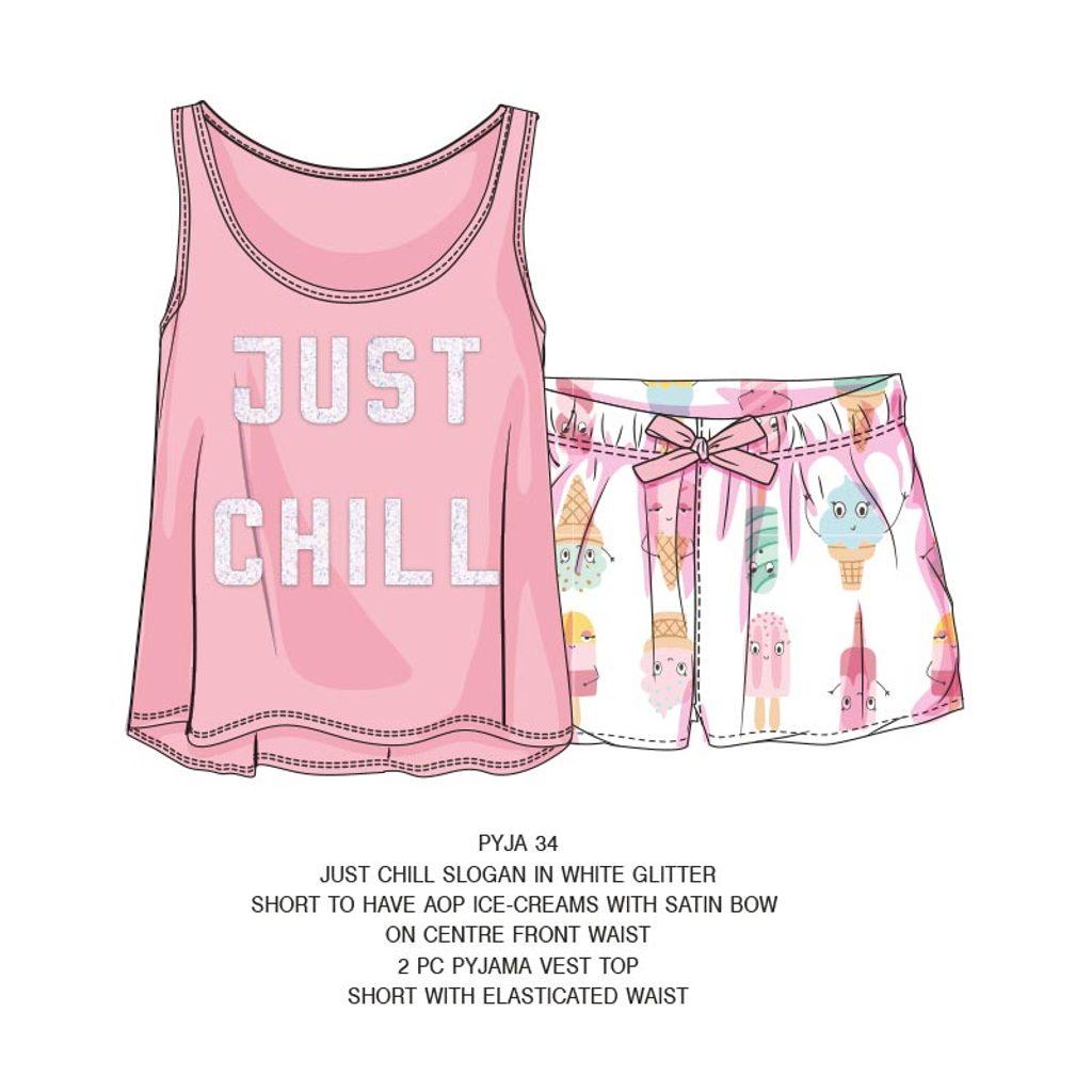 Pyžamo dívčí krátké, Minoti, PYJA 34, růžová - 152/158