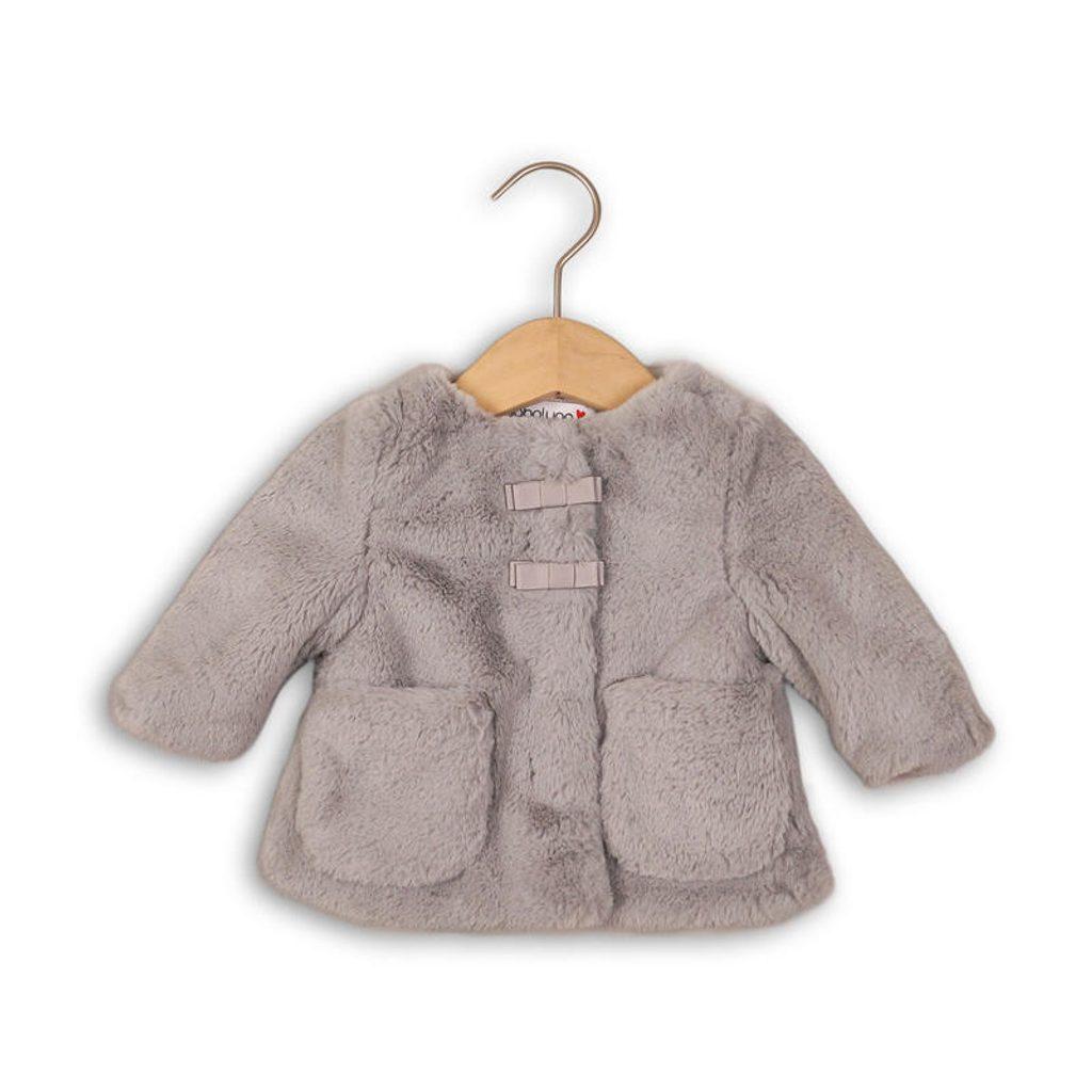 Kabátek kojenecký chlupatý s bavlněnou podšívkou, Minoti, EYELASH 2, šedá - 68/74