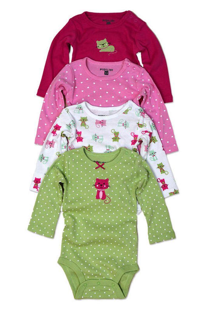 body kojenecké 4pack, s dlouhým rukávem, Pidilidi, PD1004, holka - 68/74