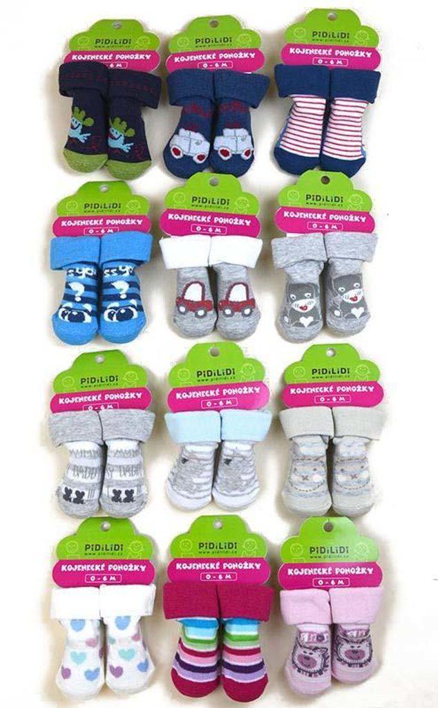 ponožky kojenecké na kartě (0 až 6m), Pidilidi, PD113, mix - 0-6m