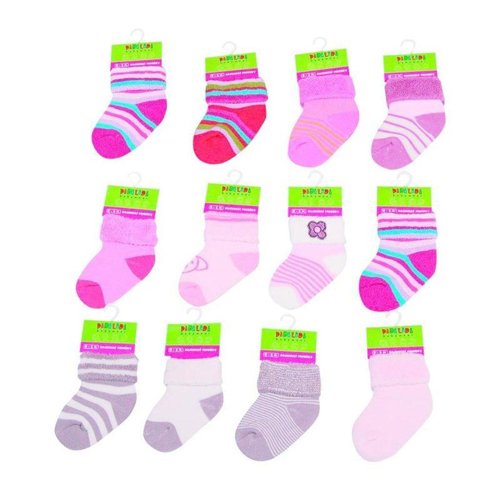Kojenecké ponožky dívčí froté (0 až 6m), Pidilidi, PD507, holka - 0-6m