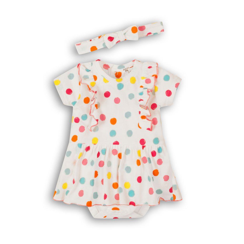 Šaty kojenecké s čelenkou, Minoti, Lullaby 5, bílá - 74/80