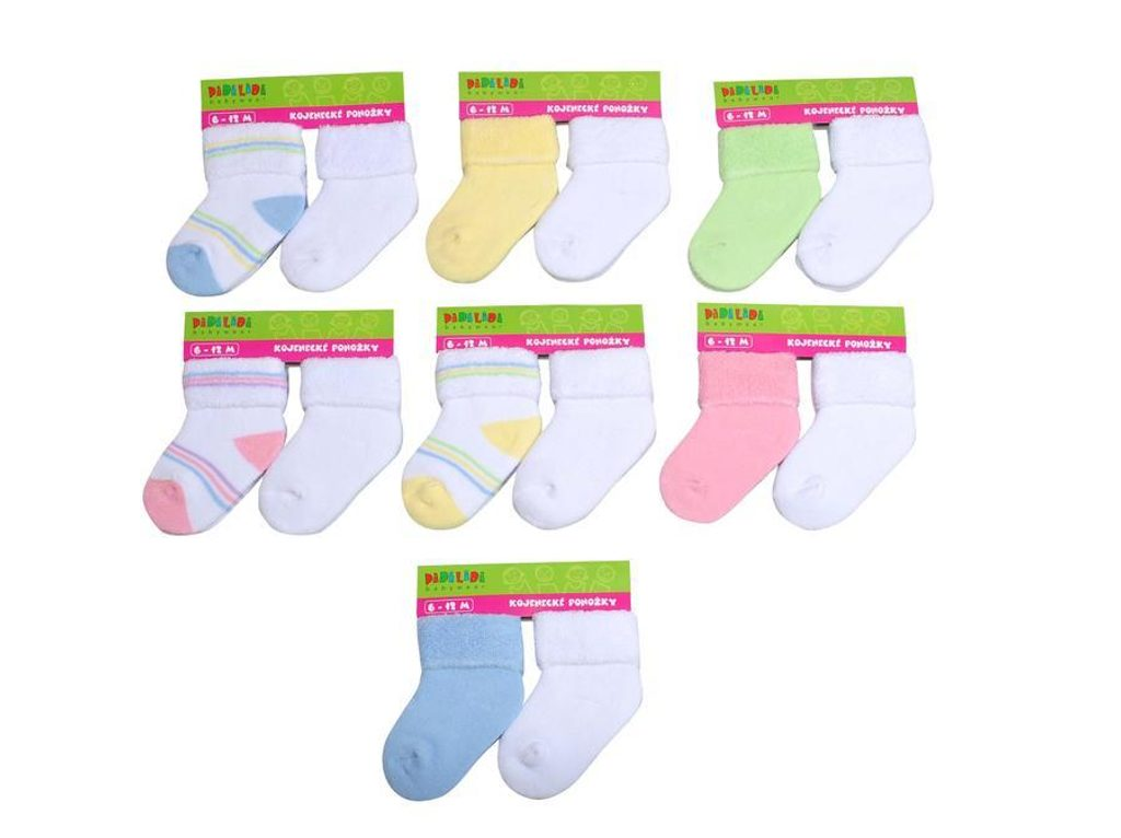 Kojenecké ponožky froté  (6 až 12m), Pidilidi, PD115, mix - 68/80