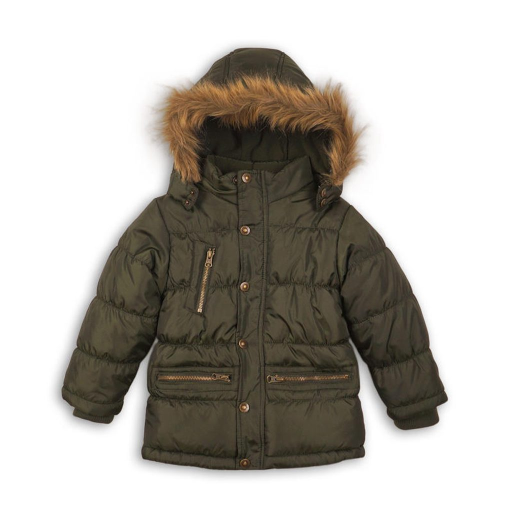 Kabát chlapecký zimní prošívaný, Minoti, MONO 3, khaki - 104/110