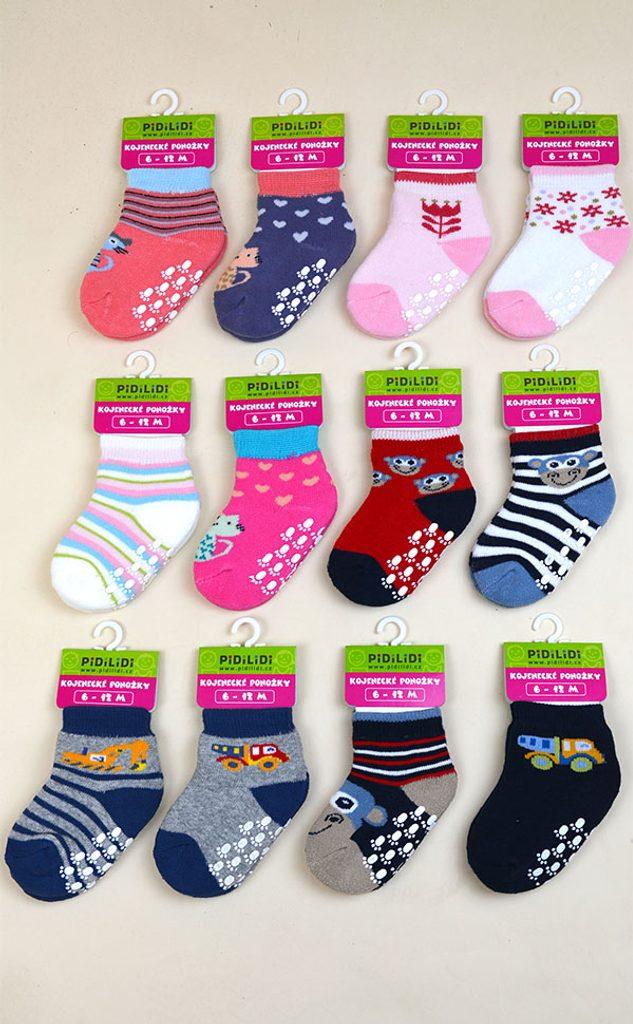 ponožky kojenecké FROTÉ protiskluzové, Pidilidi, PD0119, mix - 68/80