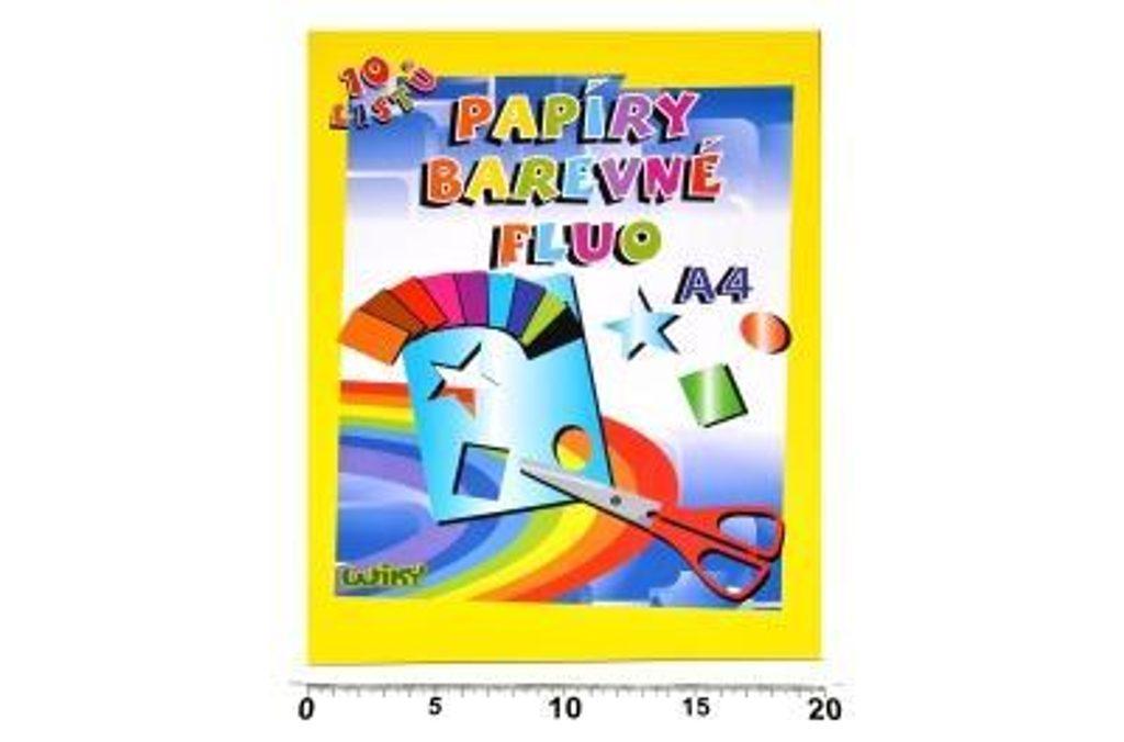 Papíry barevné W fluo A4, 10 listů, WIKY, 886466