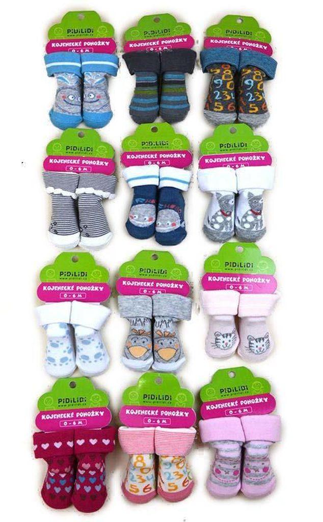 ponožky kojenecké na kartě (0 až 6m), Pidilidi, PD107, mix - 0-6m