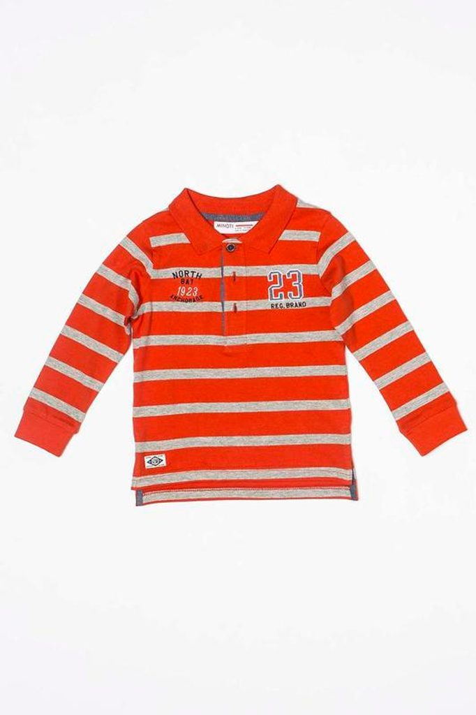 """Tričko chlapecké """"POLO"""" s dlouhým rukávem, Minoti, BAY 10, červená - 104/110"""