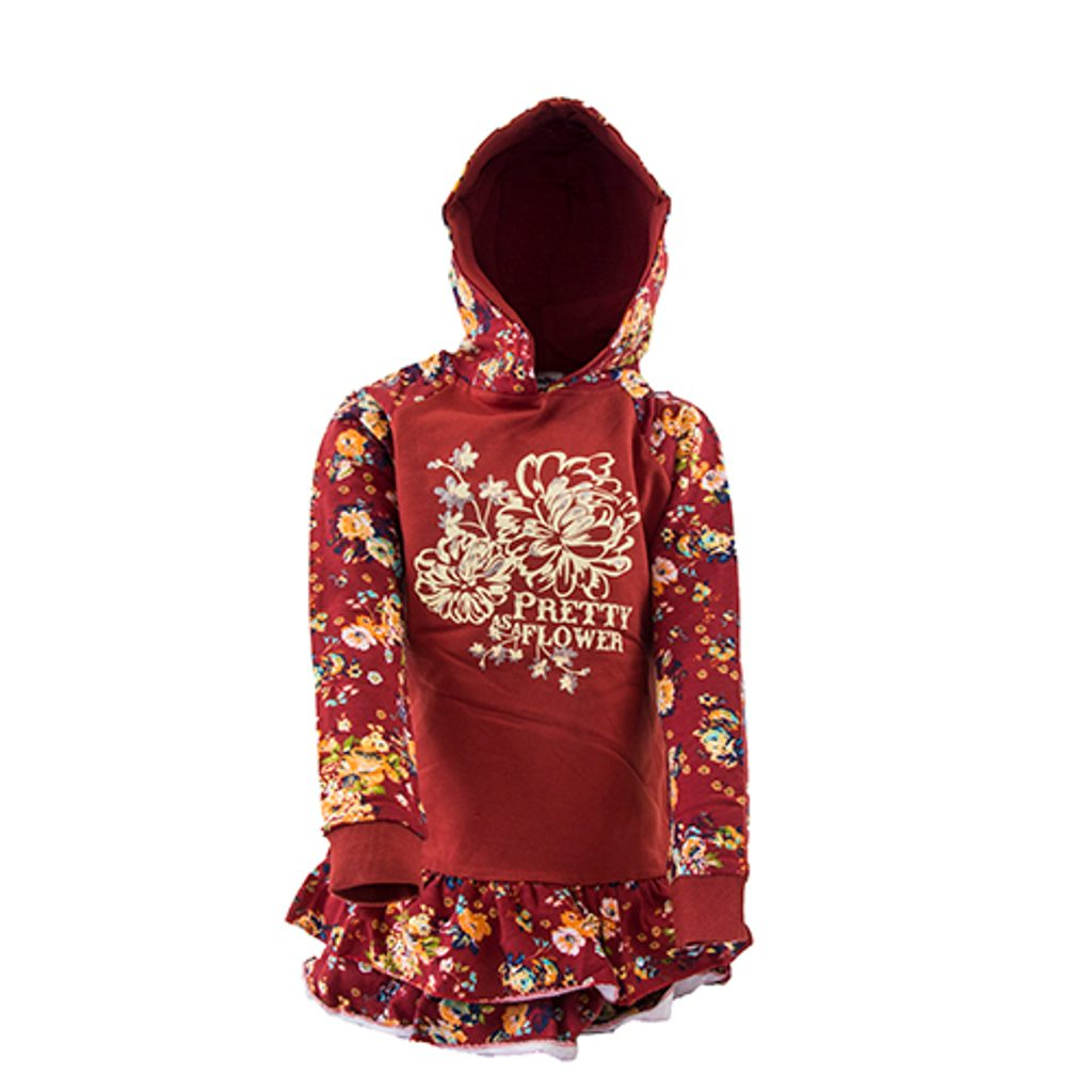mikinové šaty s kapucí, Wendee, OZFB19237-2,červená - 140