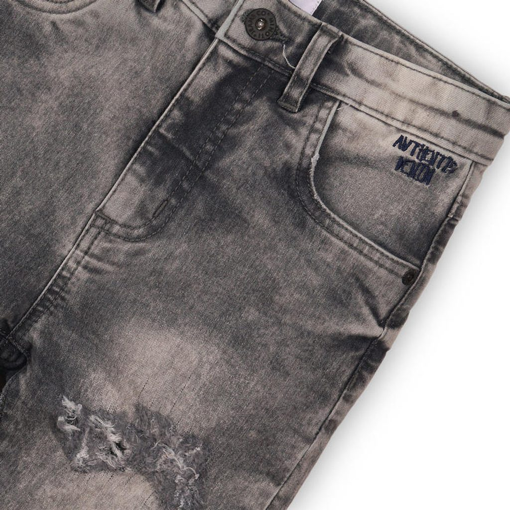 Kalhoty chlapecké džínové s elastenem, Minoti, LUXE 10, šedá - 128/134