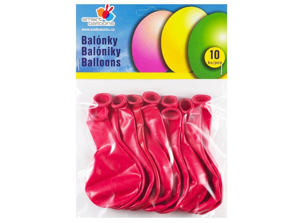 Balónek nafukovací - sada 10ks ČERVENÉ 26cm, Smart Balloons, W040575
