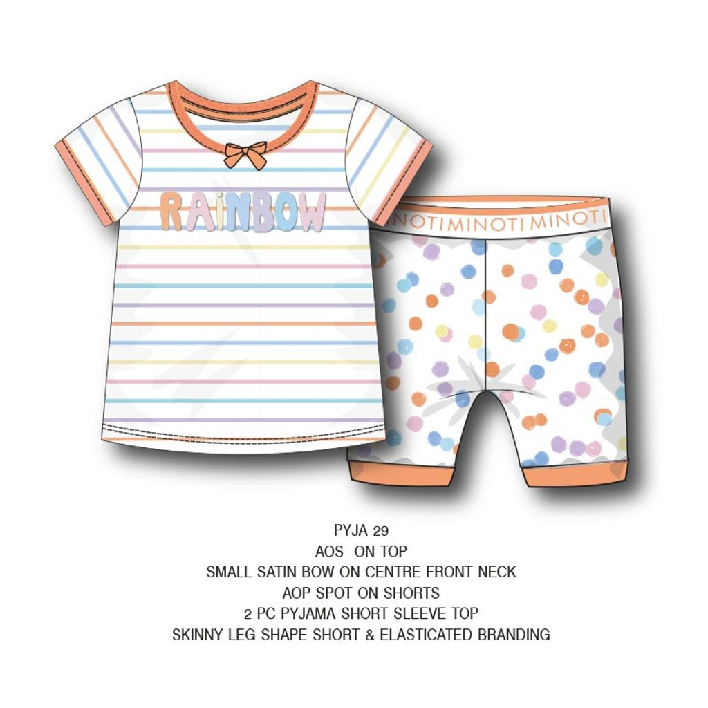 Pyžamo dívčí krátké, Minoti, PYJA 29, holka - 98/104