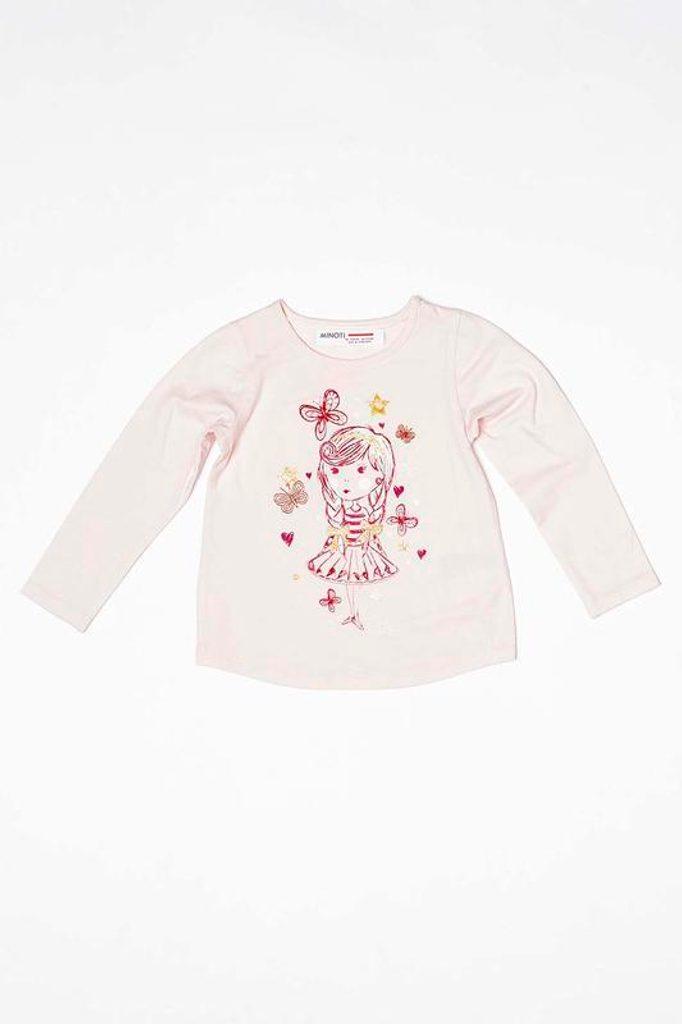 Tričko dívčí s dlouhým rukávem, Minoti, BERRY 1, růžová - 104/110