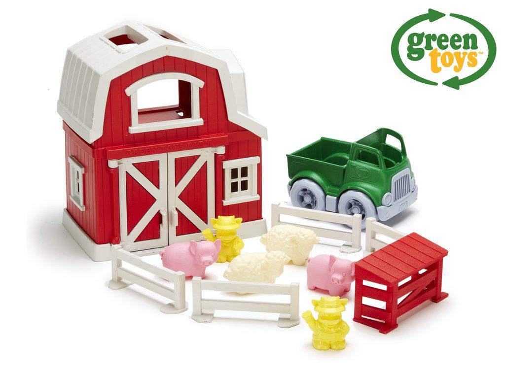 Green Toys Farma s domečkem, autíčkem a zvířátky, Green Toys, W009287