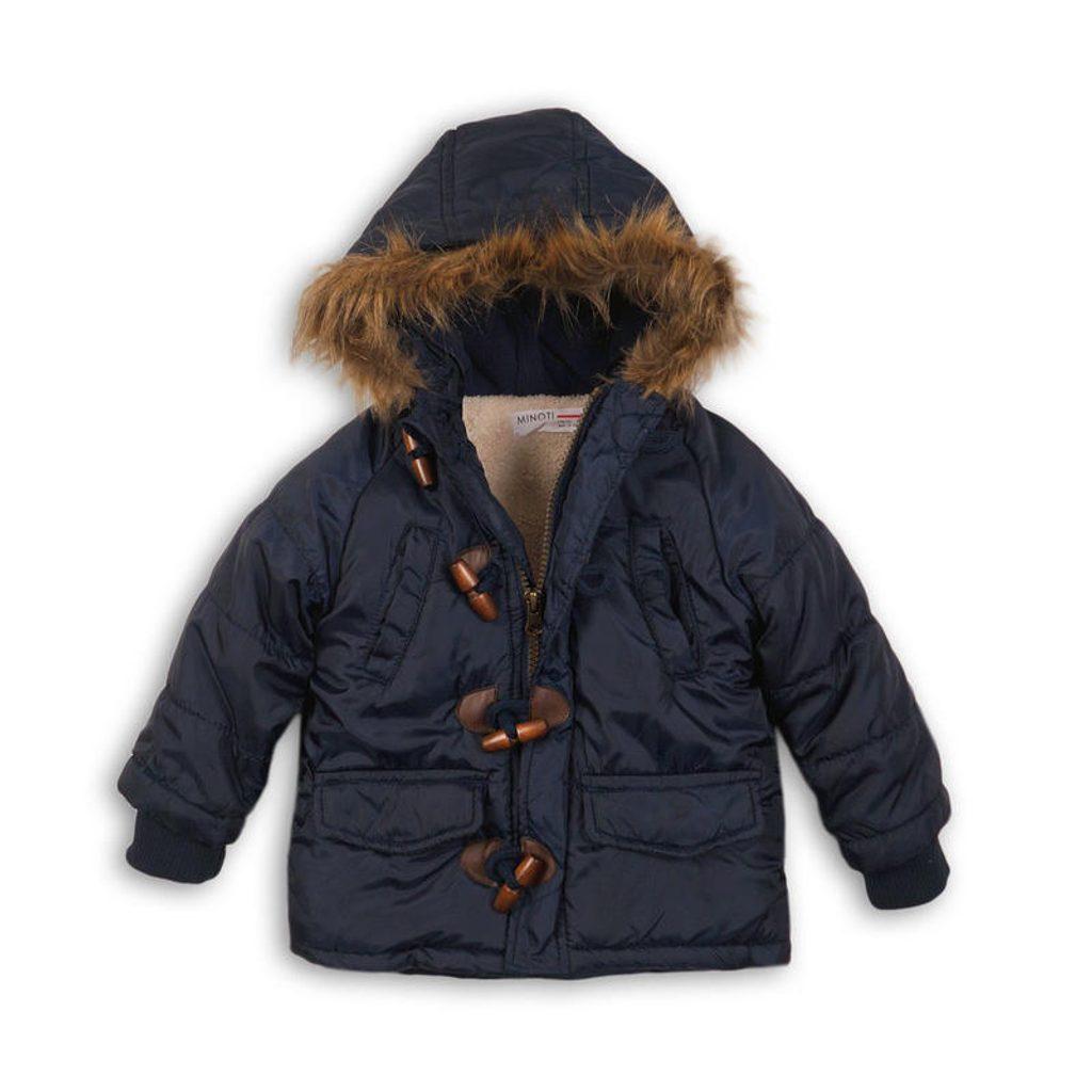 Bunda chlapecká zimní Parka Puffa nylonová, prošívaná, Minoti, CROSS 10, modrá - 80/86