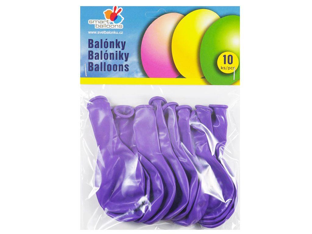 Balónek nafukovací - sada 10ks FIALOVÉ 26cm, Smart Balloons, W040583