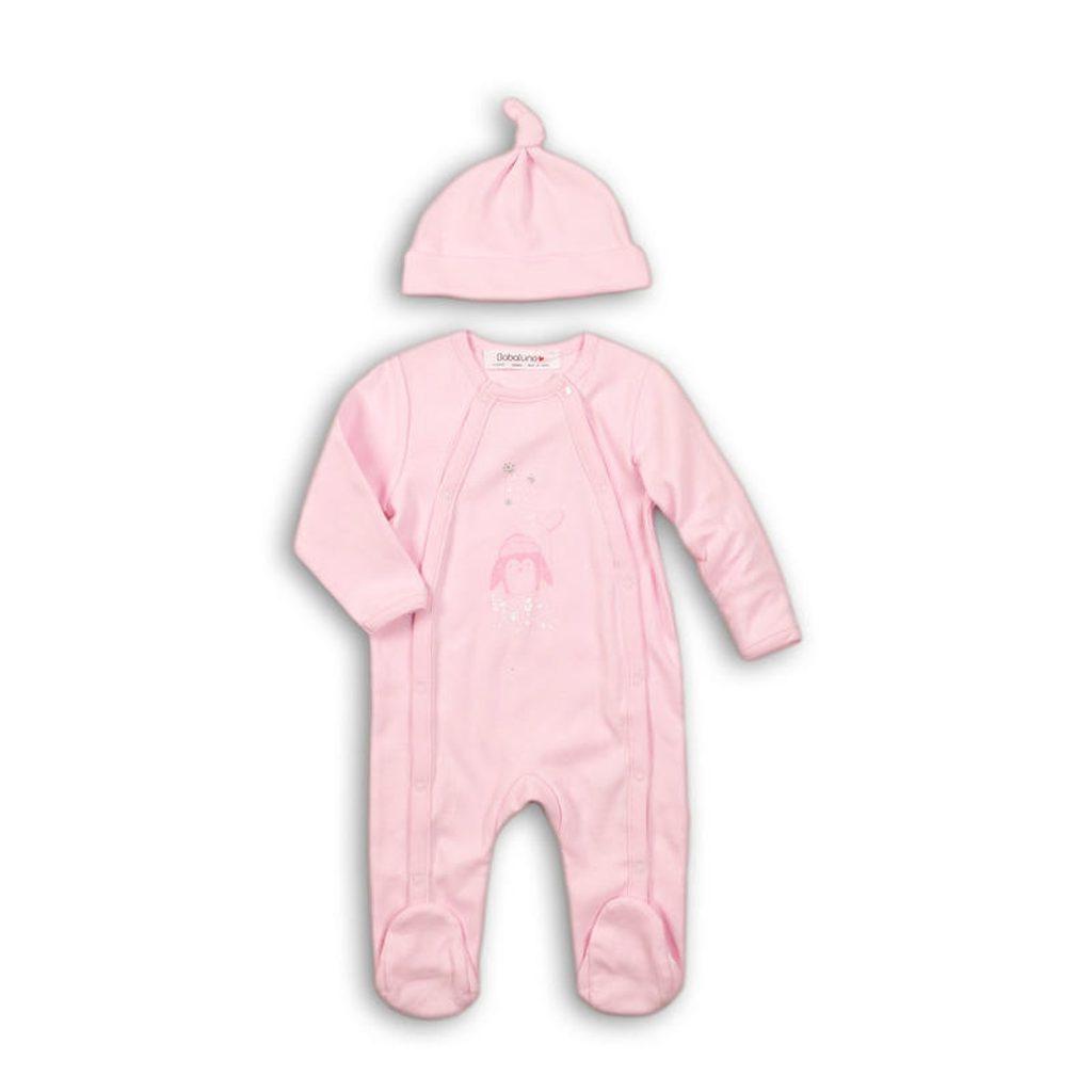 Overal kojenecký bavlněný s čepičkou, Minoti, PENGUIN 4, růžová - 62/68