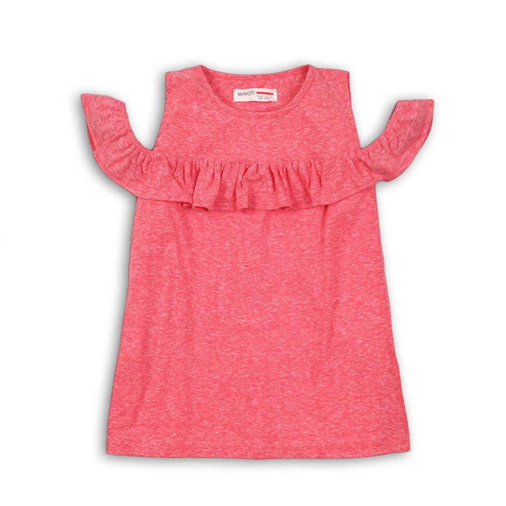 Tričko dívčí s holými rameny, Minoti, GLASTO 7, růžová - 104/110