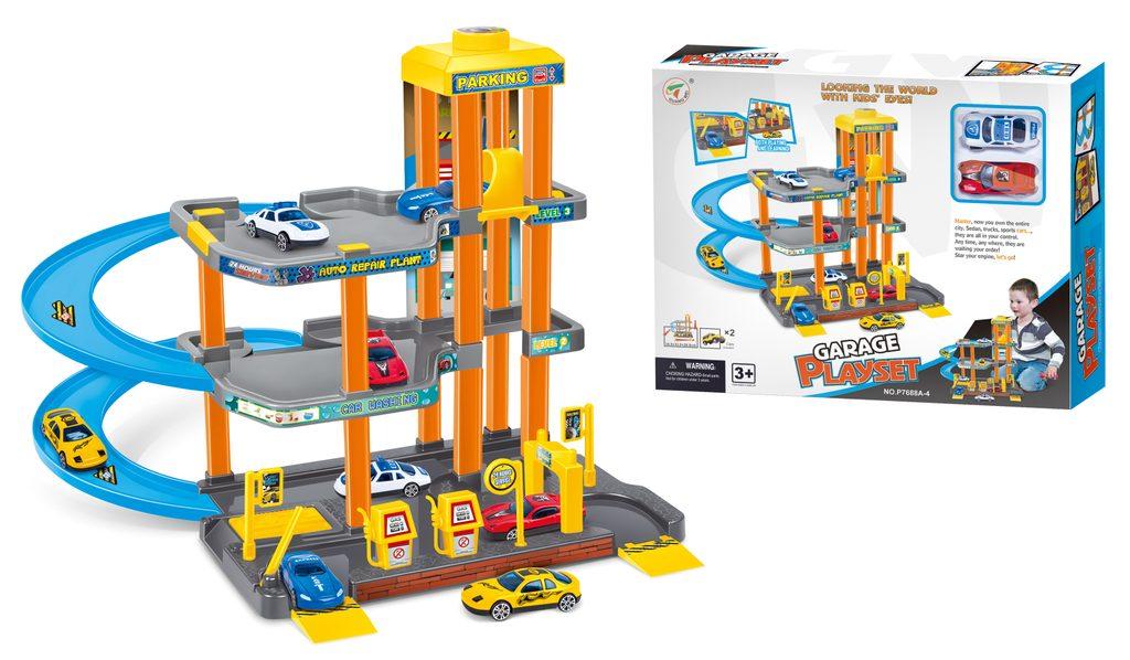 Garáž se 2 autíčky, 34,5x33,5x28,5 cm, Wiky Vehicles, W006691