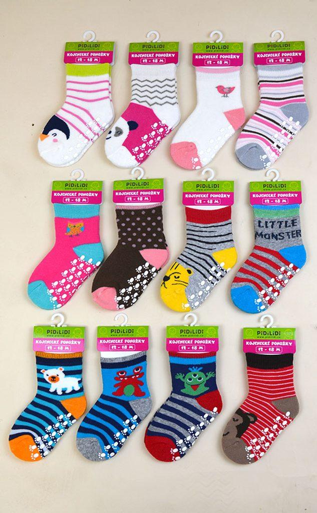 ponožky kojenecké protiskluzové, Pidilidi, PD0120, mix - 80/86