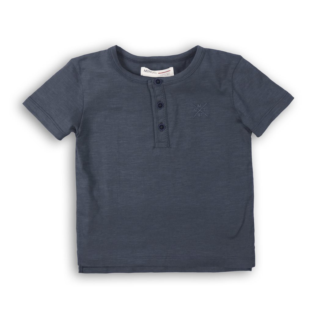 Tričko chlapecké s krátkým rukávem, Minoti, 1HENLEY 2, šedá - 98/104