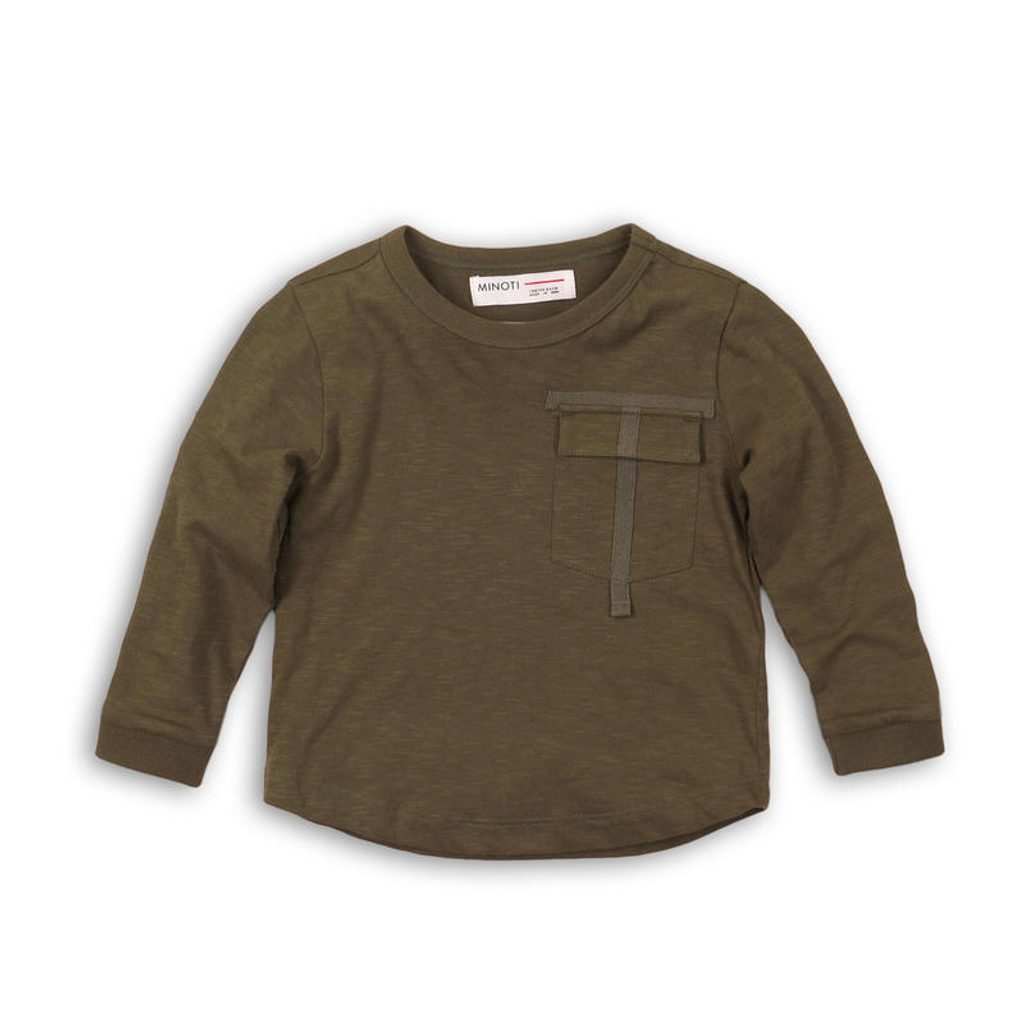 Tričko chlapecké s dlouhým rukávem, Minoti, RANGER 5, khaki - 122/128