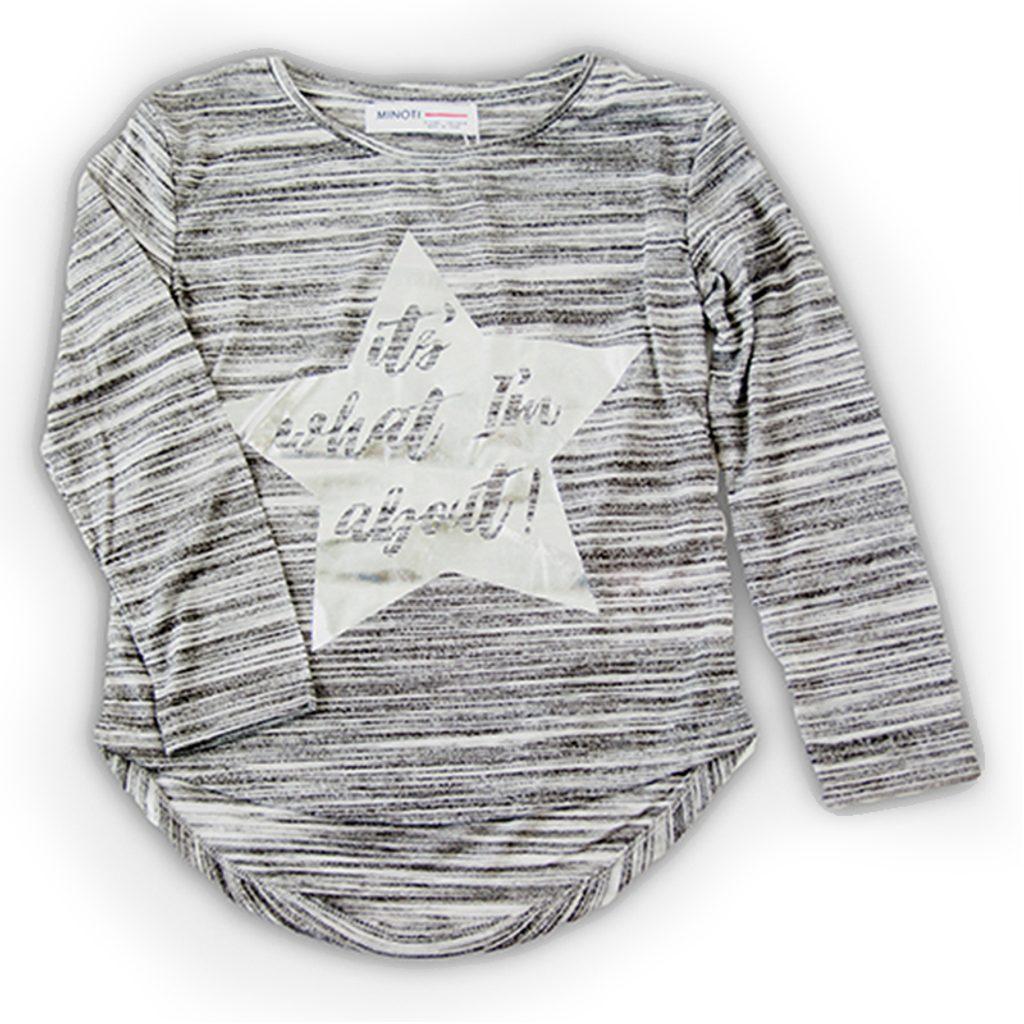 Tričko dívčí s dlouhým rukávem, Minoti, REDRUM 8, šedá - 122/128