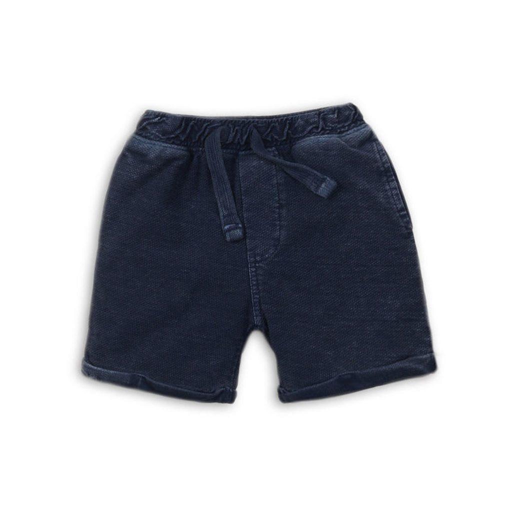 Kraťasy chlapecké teplákové, Minoti, island 7, tmavě modrá - 98/104
