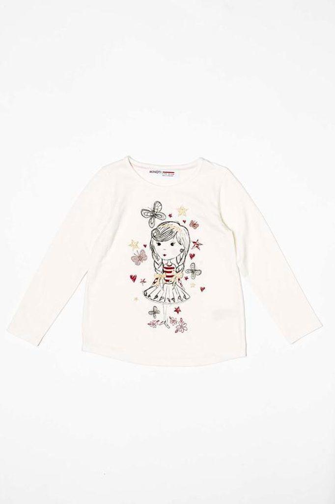 Tričko dívčí s dlouhým rukávem, Minoti, BERRY 1, bílá - 98/104