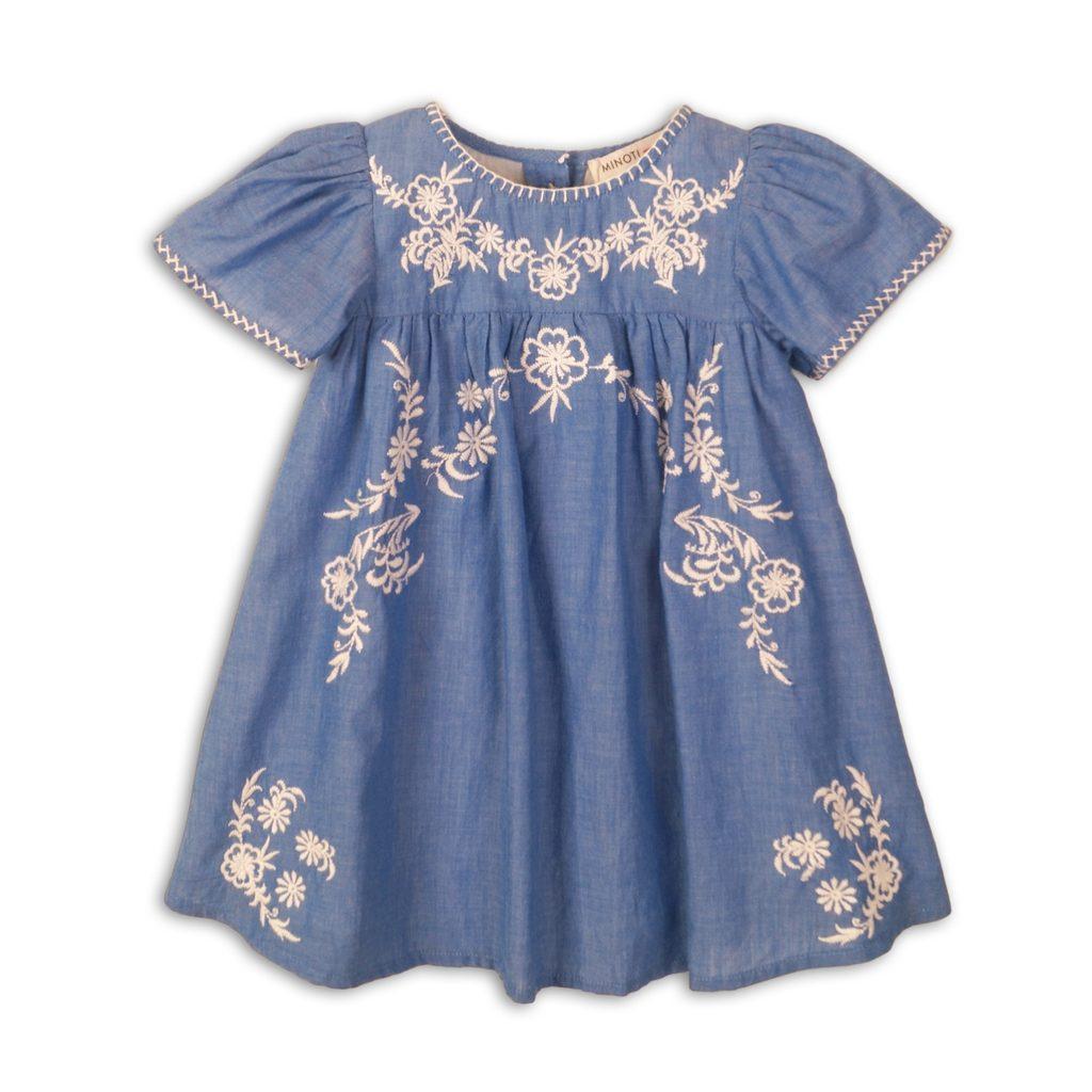 Šaty dívčí bavlněné vyšívané, Minoti, Picnic 3, modrá - 92/98