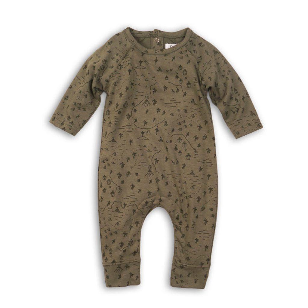 Overal kojenecký bavlněný, Minoti, CACTUS 3, khaki - 74/80