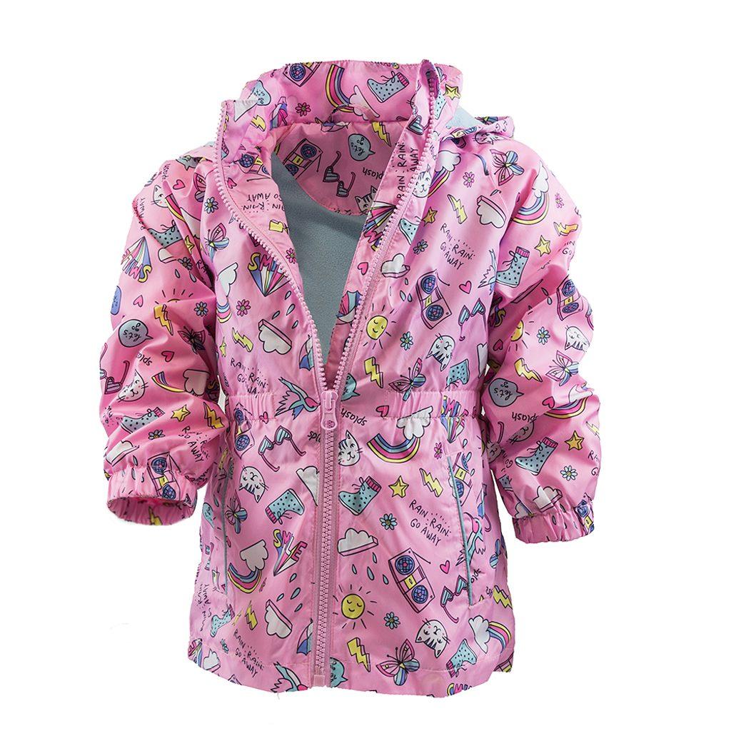 dívčí jarní/podzimní bunda s potiskem a kapucí, Pidilidi, PD1092, růžová - 92/98