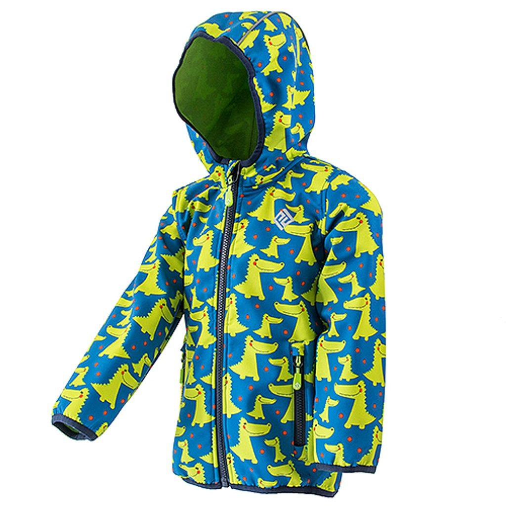 chlapecká softshellová bunda s potiskem a pevnou kapucí, PiDiLiDi, PD1072-02, kluk - 80/86