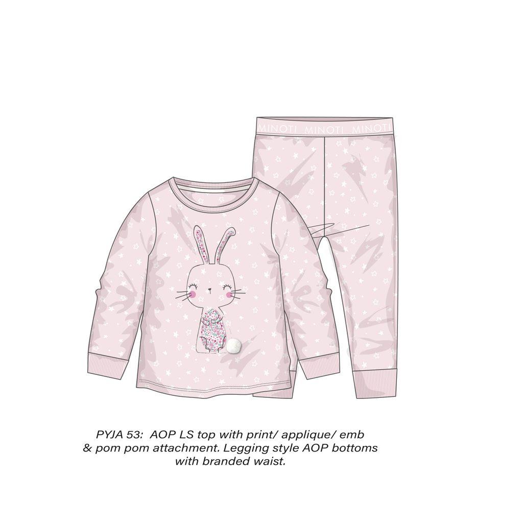 Pyžamo dívčí, Minoti, PYJA 53, růžová - 80/86