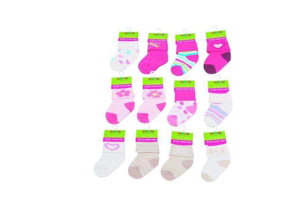 Kojenecké ponožky dívčí  12 pack (0 až 6m), Pidilidi, PD500, holka - 0-6m