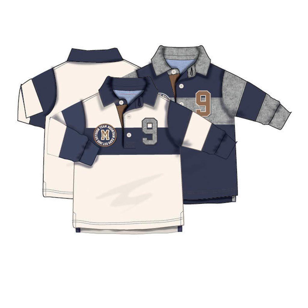 Tričko chlapecké POLO s dlouhým rukávem, Minoti, GREAT 6, modrá - 92/98